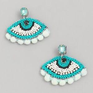 Blue Beaded Eye Statement Earrings